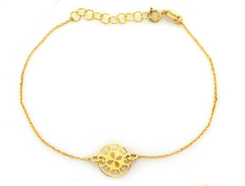 Złota bransoletka 585 celebrytka ażurowe kółeczko