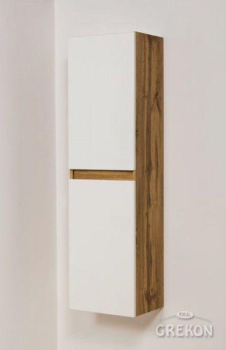 Regał łazienkowy loftowy biały 40x144cm, wysoki dwudrzwiowy, Gante GRACE
