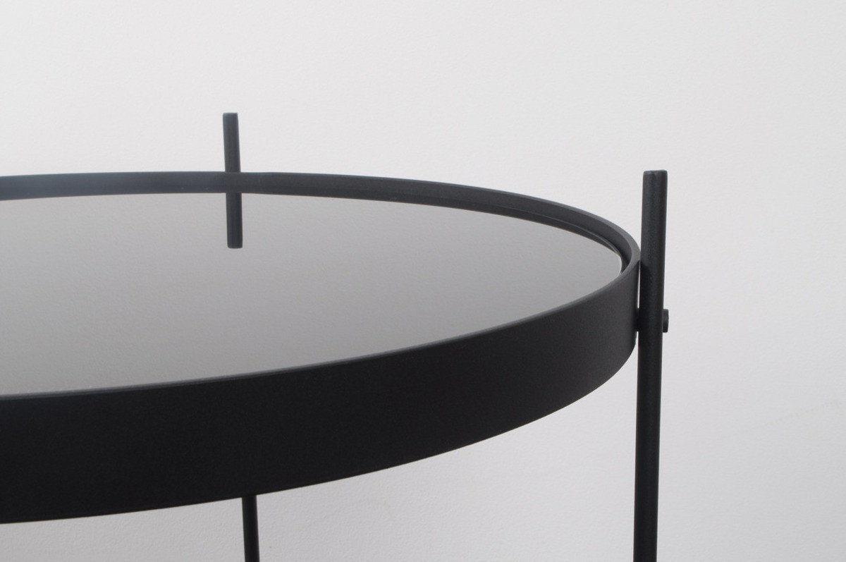 Stół CUPID BLACK 2300036 Zuiver okrągły czarny stolik z lustrzanym blatem