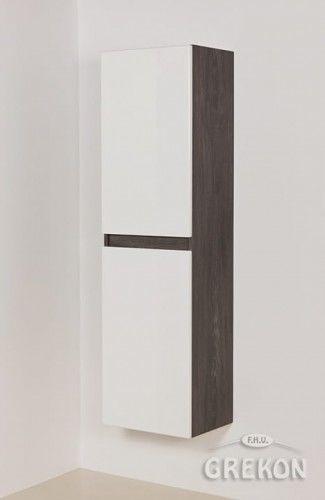 Regał łazienkowy loftowy szary 40x144cm, wysoki dwudrzwiowy, Gante GRACE