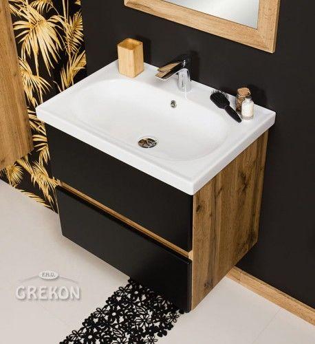 Szafka łazienkowa czarna 65cm z umywalką ceramiczną, Styl Loftowy, Gante GRACE