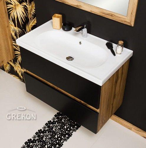 Szafka łazienkowa czarna 85cm z umywalką ceramiczną, Styl Loftowy, Gante GRACE
