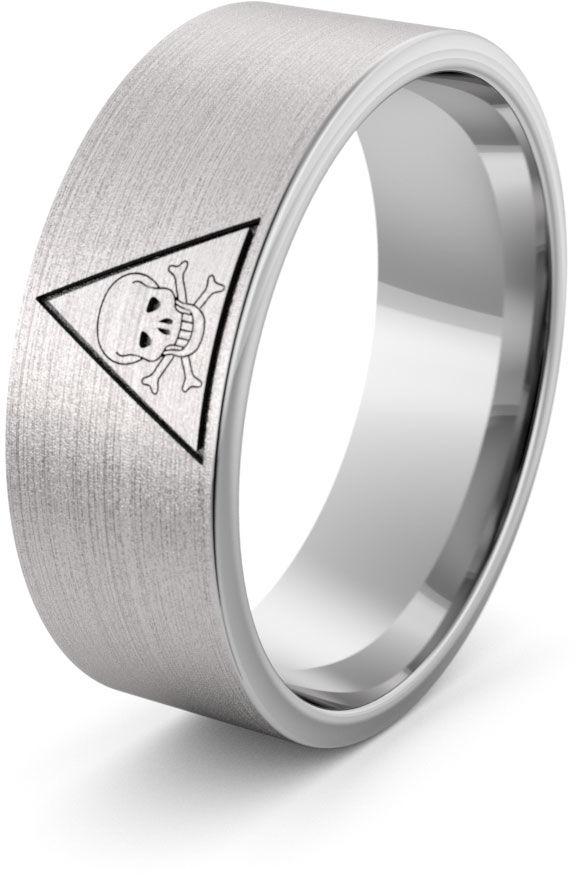 Obrączka srebrna z czaszką - wzór Ag-386