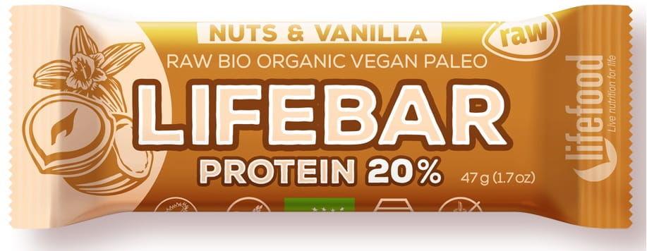Baton orzechowo-waniliowy proteinowy raw bio 47 g - lifefood