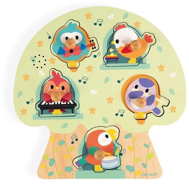Janod - Puzzle Muzyczne Wesołe Ptaszki