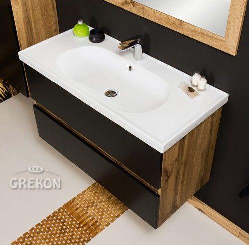 Szafka łazienkowa czarna 100cm z umywalką ceramiczną, Styl Loftowy, Gante GRACE