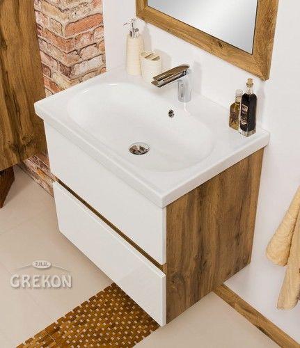 Szafka łazienkowa biała 65cm z umywalką ceramiczną, Styl Loftowy, Gante GRACE
