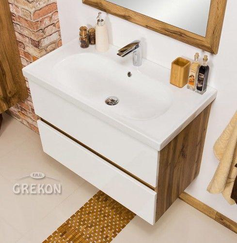 Szafka łazienkowa biała 85cm z umywalką ceramiczną, Styl Loftowy, Gante GRACE