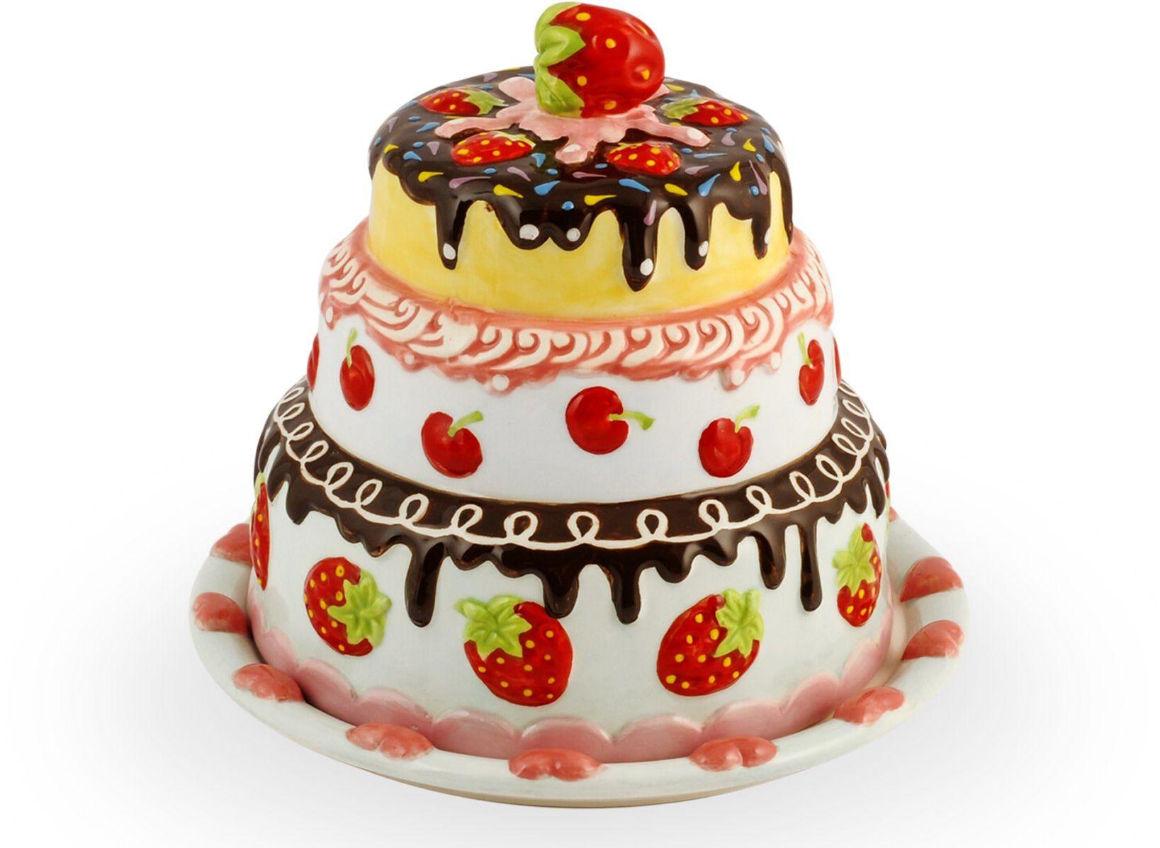 Home Kaptur na tort z pokrywką, 19 cm, ceramika, wielokolorowy