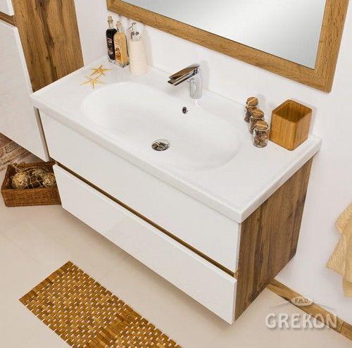 Szafka łazienkowa biała 100cm z umywalką ceramiczną, Styl Loftowy, Gante GRACE