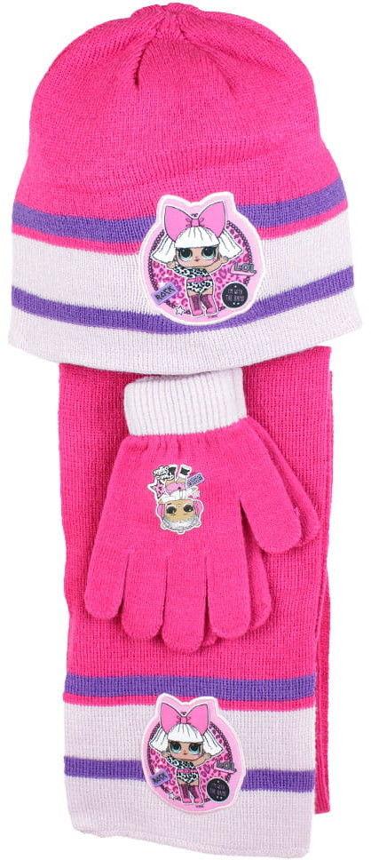 Komplet dziewczęcy czapka, rękawiczki i szalik LOL SURPRISE
