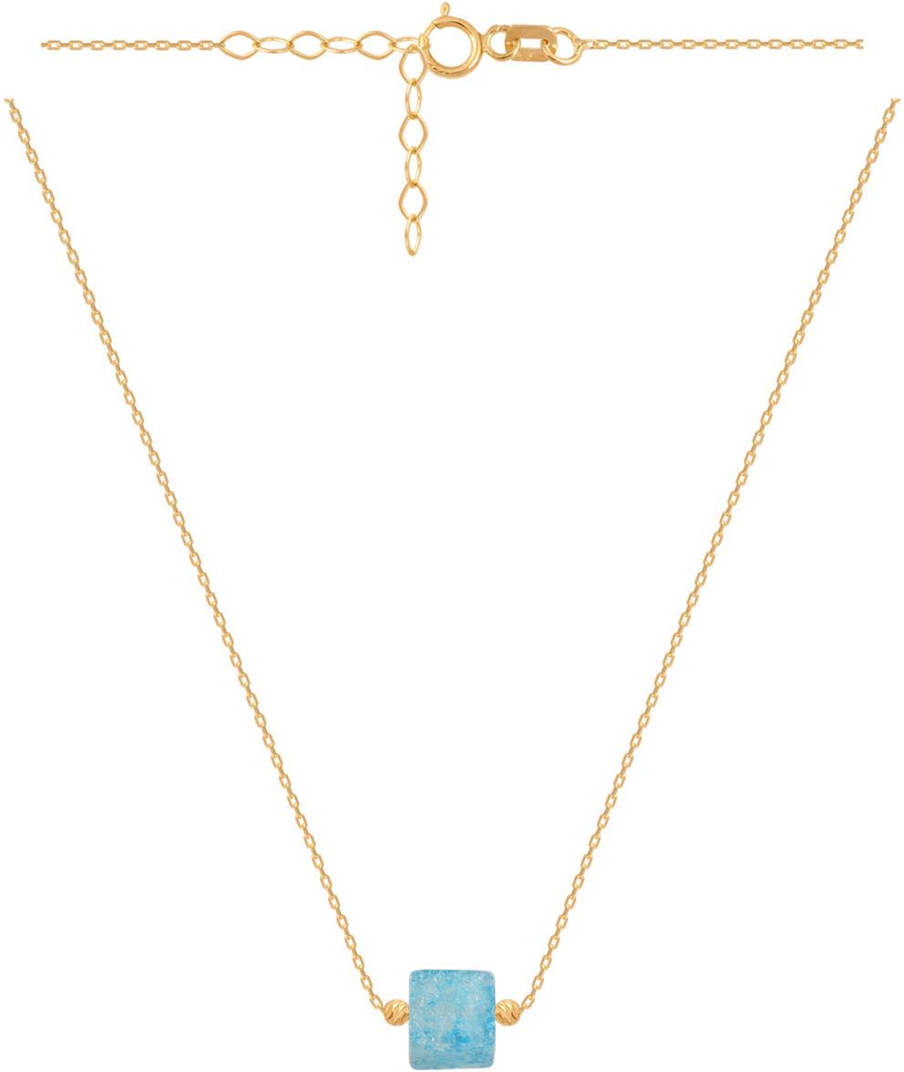 Złoty naszyjnik 585 z niebieskim kamieniem 1,70 g