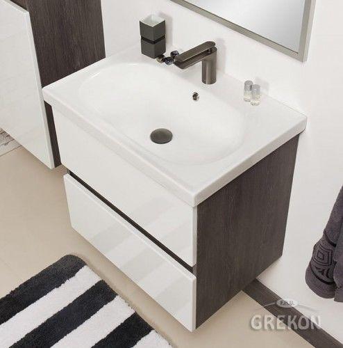 Szafka łazienkowa szara 65cm z umywalką ceramiczną, Styl Loftowy, Gante GRACE