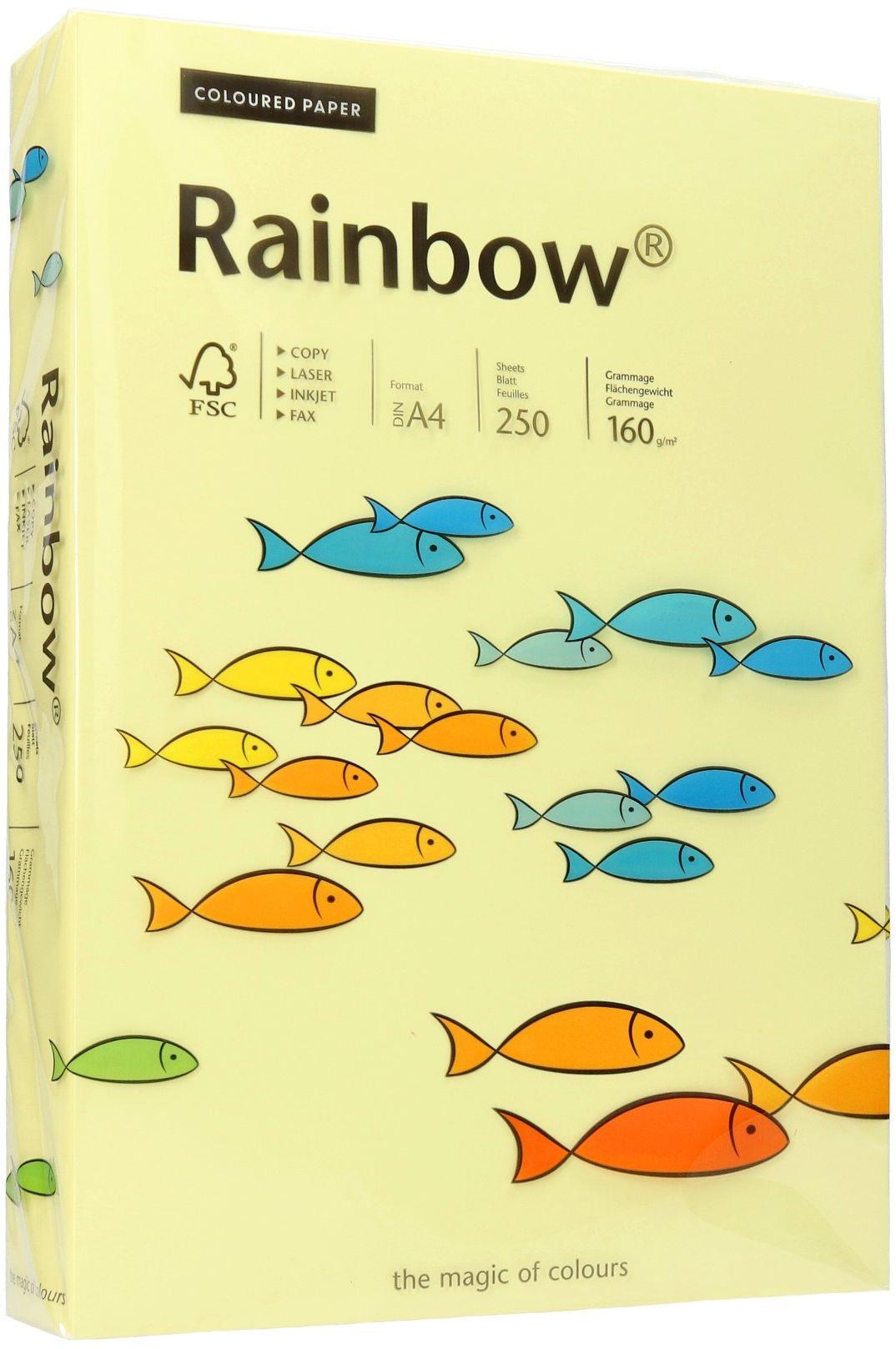 Papier ksero A4 160g jasnożółty Rainbow 12