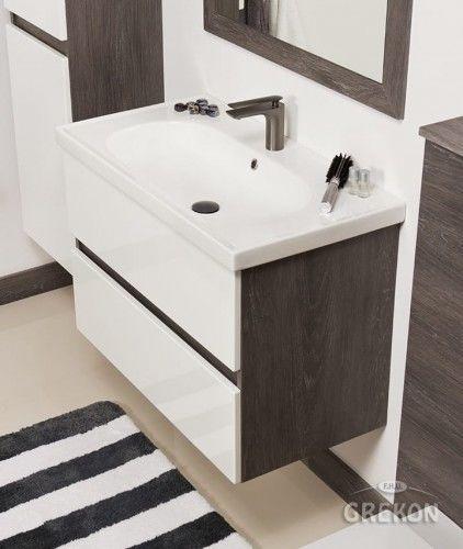 Szafka łazienkowa szara 85cm z umywalką ceramiczną, Styl Loftowy, Gante GRACE