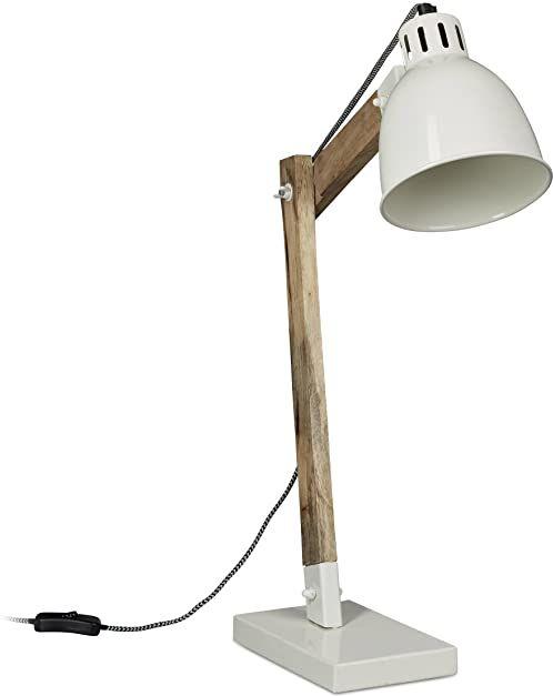 Relaxdays lampa biurkowa drewno skandynawskie, metal, 25 W, biała, 15 x 40 x 48 cm