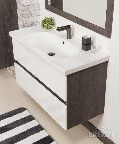 Szafka łazienkowa szara 100cm z umywalką ceramiczną, Styl Loftowy, Gante GRACE
