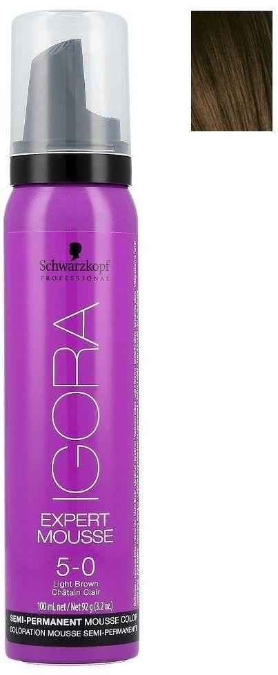 Schwarzkopf Professional IGORA Expert Mousse pianka koloryzująca do włosów odcień 5-0 Light Brown 100 ml