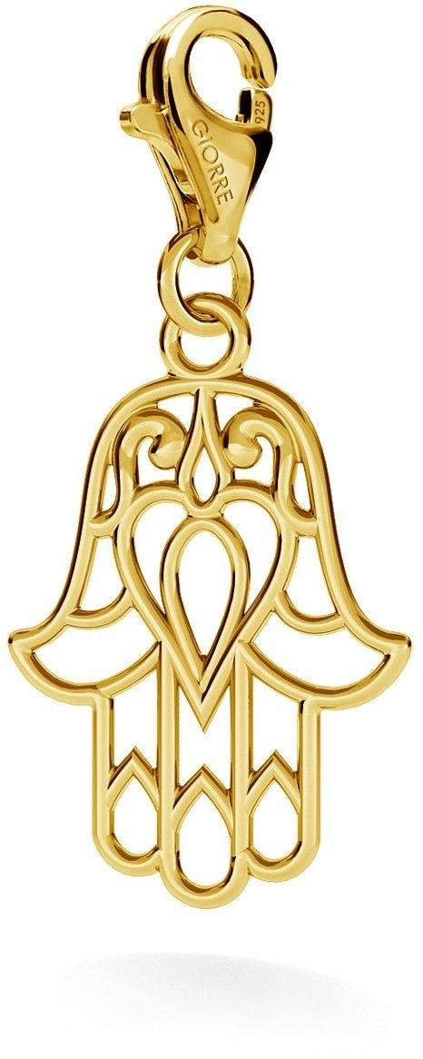 Srebrny charms zawieszka beads hamsa ręka fatimy, srebro 925 : Srebro - kolor pokrycia - Pokrycie żółtym 18K złotem, Wariant - Zawieszka