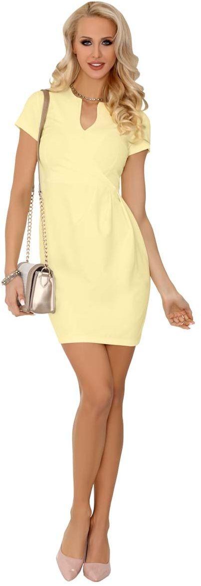 Limonkowa wizytowa sukienka z krótkim rękawem