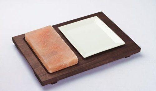 Bisetti różowe talerze himalajskie prostokątne sól P drewniane H B Ase Wenge wykończenie z dwoma porcelanowymi naczyniami, wielokolorowe, jeden rozmiar