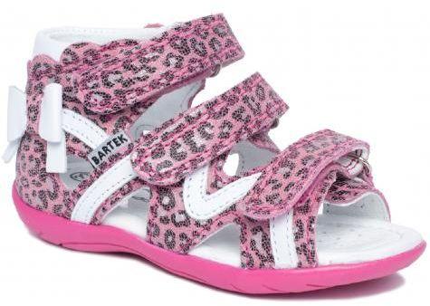 Bartek 11707 / 7-LLO sandały sandałki profilaktyczne dziewczęce - różowa panterka
