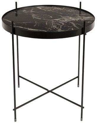 Stół CUPID MARBLE BLACK 2300080 Zuiver okrągły czarny stolik ze szklanym blatem imitującym marmur