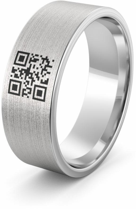 Obrączka srebrna z indywidualnym kodem kreskowym - wzór Ag-386