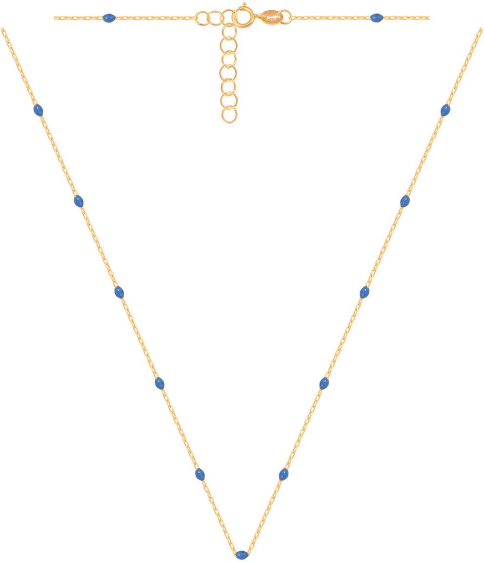 Złoty naszyjnik 585z kuleczkami zdobionymi niebieską emalią