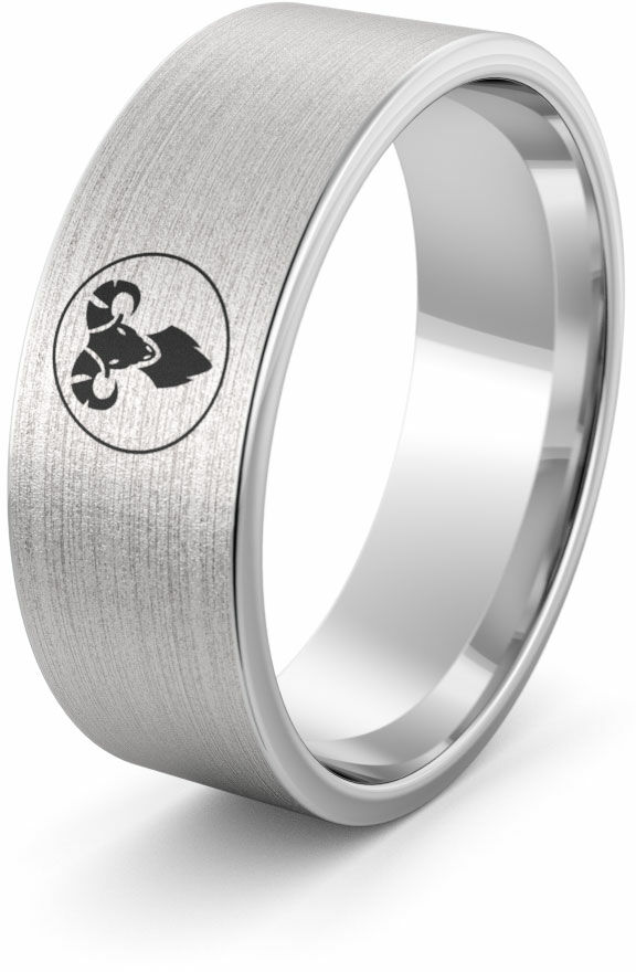 Obrączka srebrna z znakiem zodiaku baran - wzór Ag-386