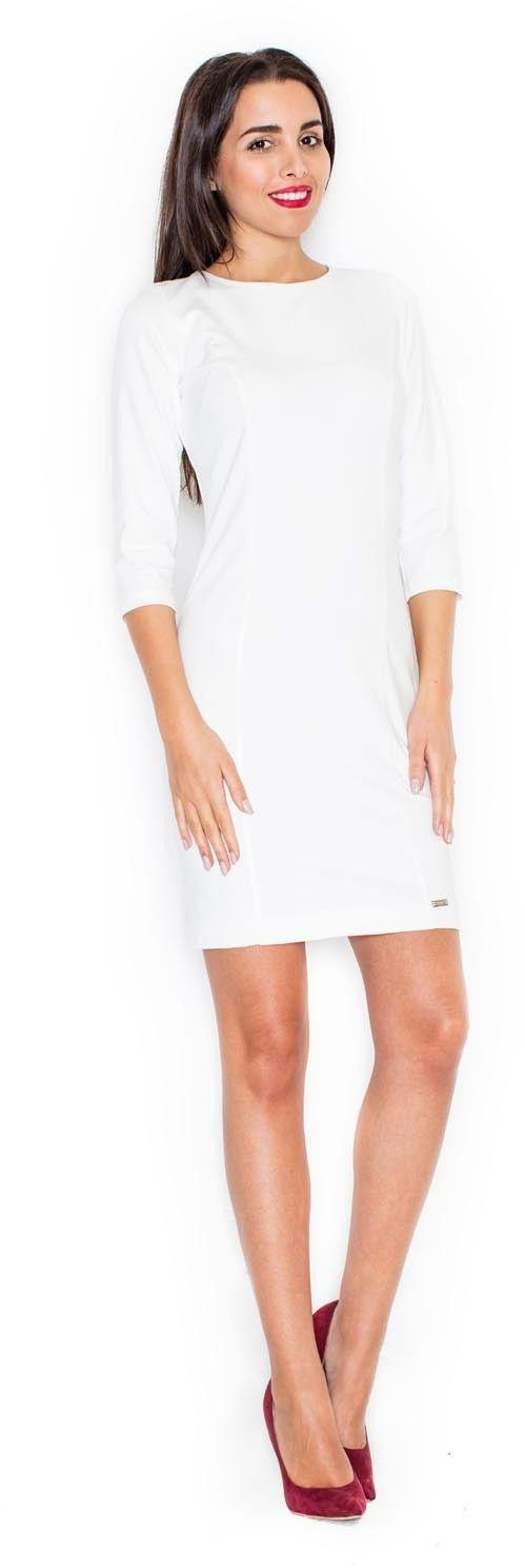Ecru elegancka sukienka z przezroczystą wstawką na plecach