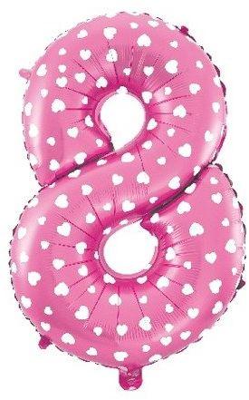 Balon foliowy 8 różowy w białe serca ok. 65cm 1szt BF32-8-ROZ
