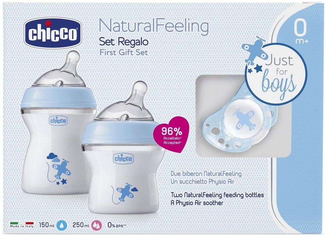 Chicco Zestaw do karmienia: Butelka 150ml / 250ml; Smoczek Physio Air 0m+, Niebieski