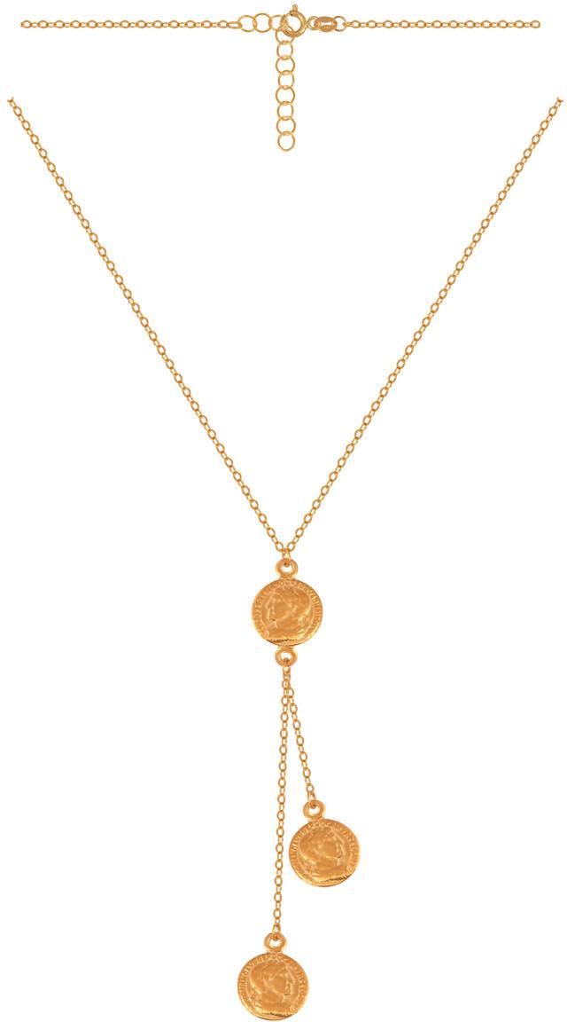 Złoty naszyjnik 585 krawatka z doczepionymi elementami robionymi na wzór starożytnych rzymskich mone