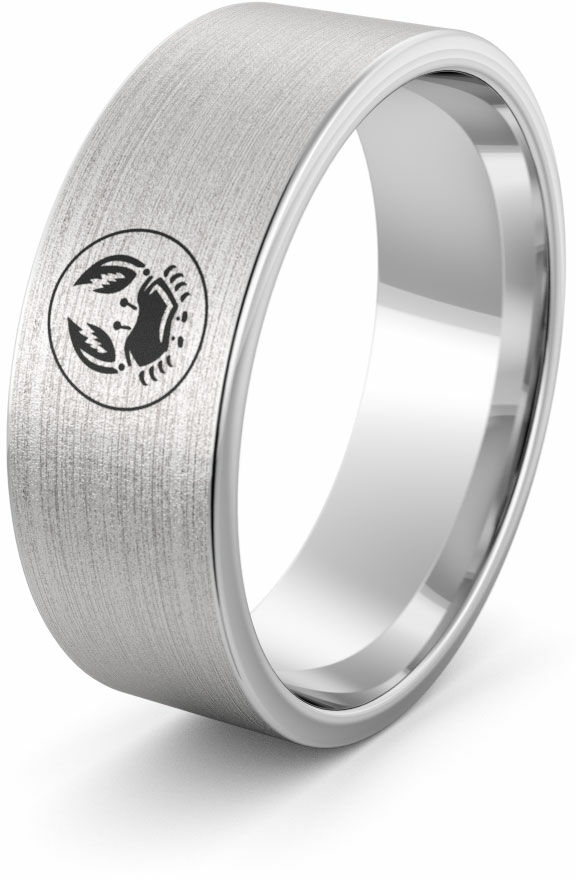 Obrączka srebrna z znakiem zodiaku rak - wzór Ag-386