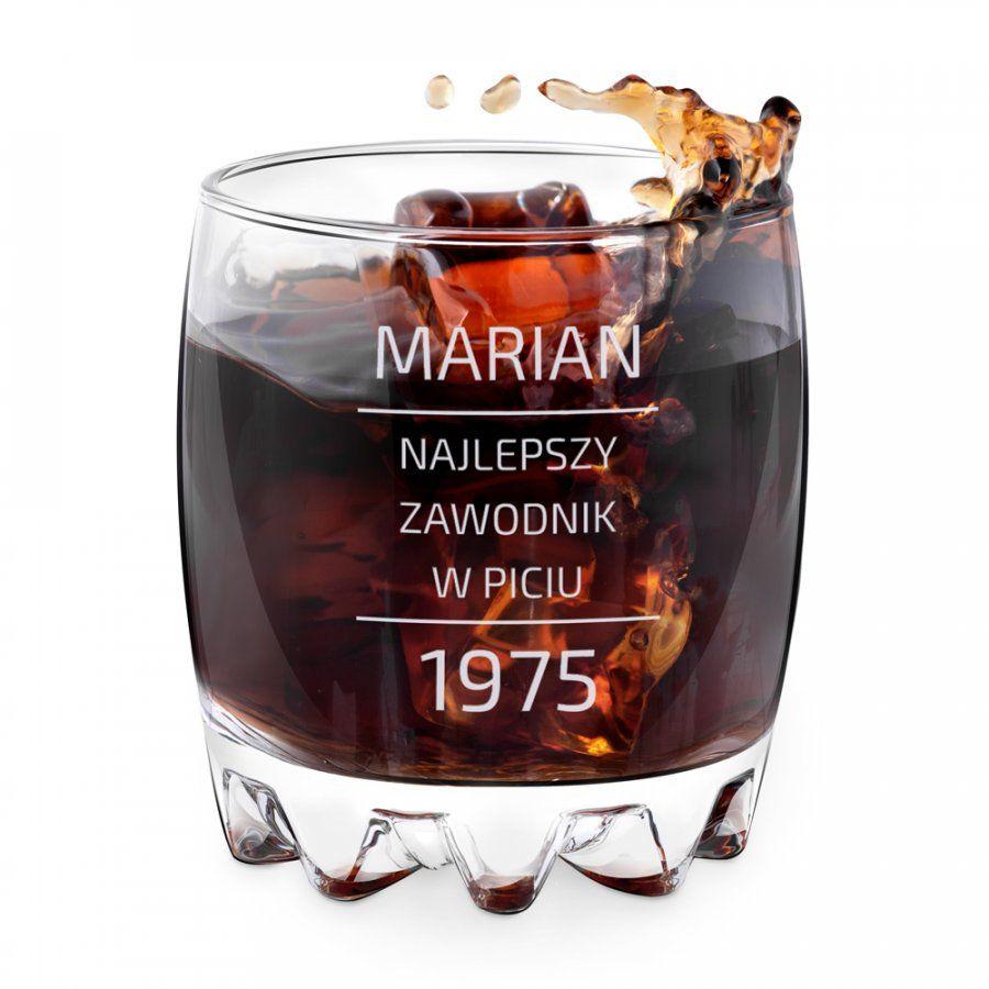 Szklanka grawerowana sylwana z dedykacją dla konesera na urodziny