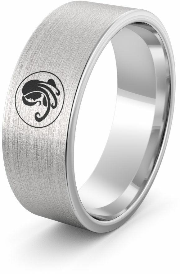 Obrączka srebrna z znakiem zodiaku panna - wzór Ag-386