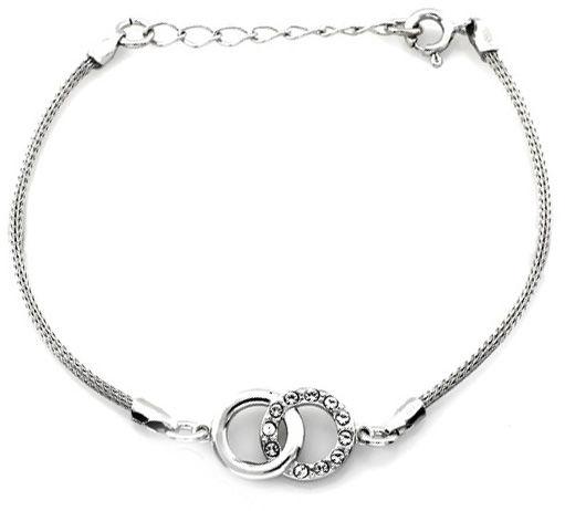 Srebrna bransoletka 925 gruby sznur i dwa przeplecione kółka