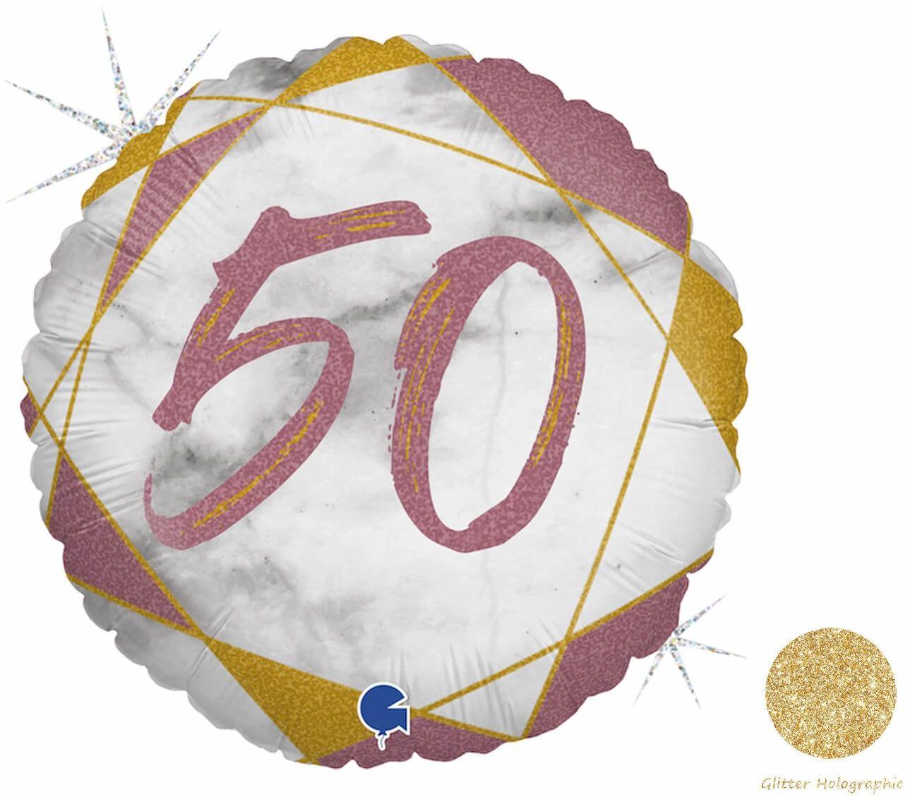 Balon foliowy na pięćdziesiątkę różowe złoto - 46 cm - 1 szt.
