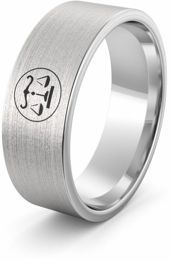 Obrączka srebrna z znakiem zodiaku waga - wzór Ag-386