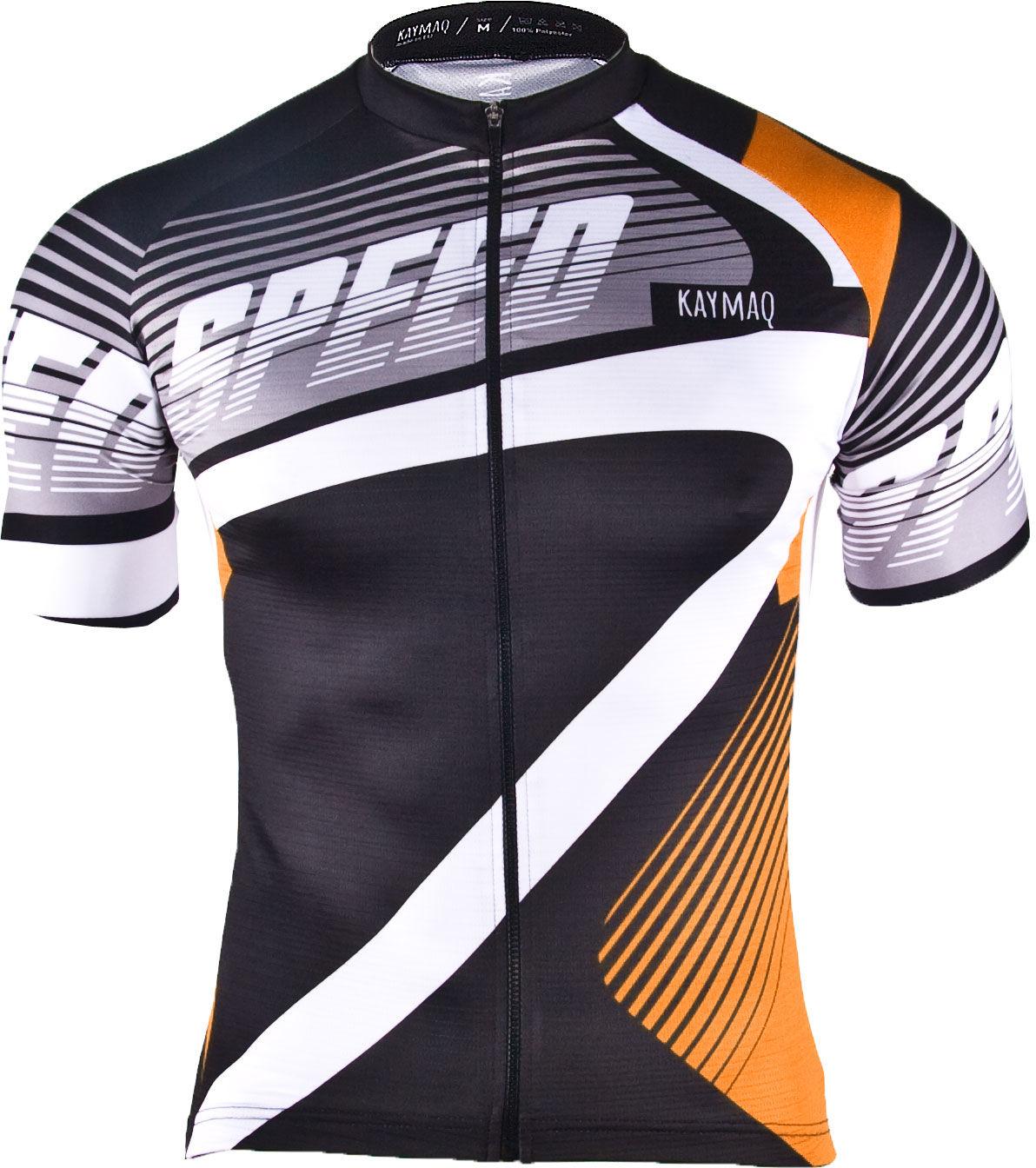 KAYMAQ M27 SPEED męska koszulka rowerowa z krótkim rękawem czarny-pomarańcz Rozmiar: L,m27speedpomarancz