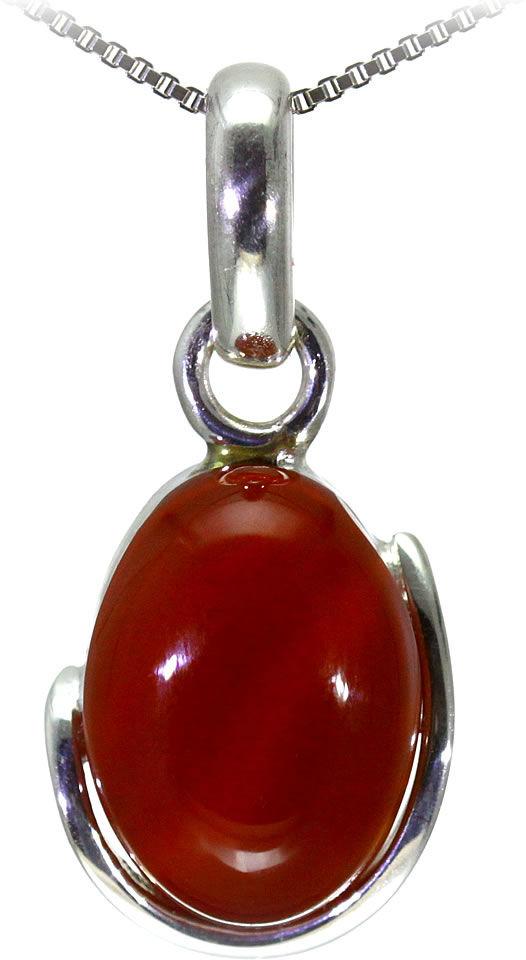 Kuźnia Srebra - Zawieszka srebrna, 34mm, Czerwony Onyks, 6g, model