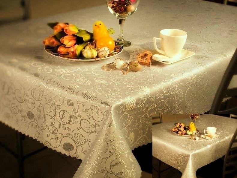 Dwustronne Bieżniki i Serwety Plamoodporne Wielkanoc 2425 Jajko Ornament Złoty
