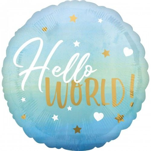 Balon foliowy Hello World, niebieski