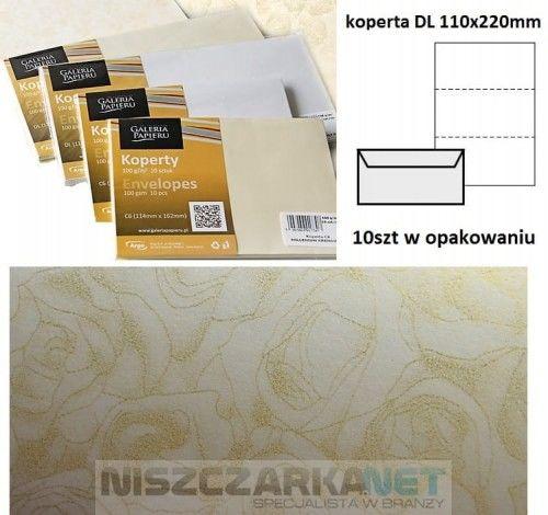 Koperta / koperty ozdobne DL - Róże krem - opk 10szt/120g
