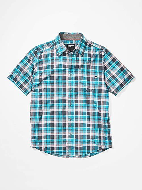 Marmot Męska koszula turystyczna Syrocco SS, koszulka z krótkim rękawem, szybkoschnąca koszulka podróżna z ochroną przeciwsłoneczną, oddychająca i nadająca się do spakowania Emaliowany niebieski S