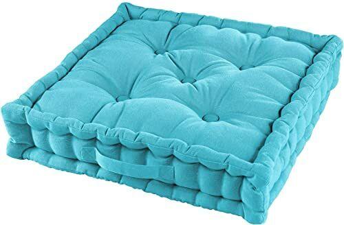 Poduszka podłogowa, 45 x 45 x 10 cm, bawełna, jednokolorowa, turkusowa, 45 x 45 x 10 cm