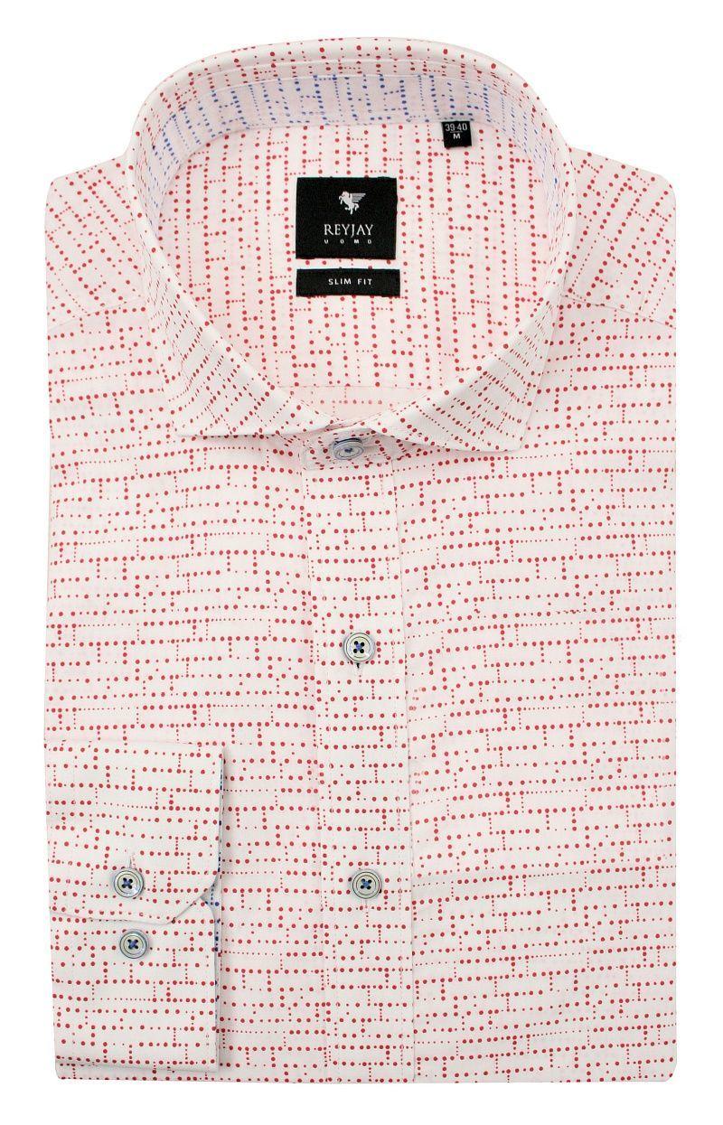 Biała Koszula Męska w Czerwone Kropki, Groszki -REY JAY- Slimowana, z Długim Rękawem KSDWRJrap118343SL