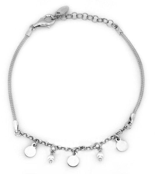 Srebrna bransoletka 925 łańcuszkowa oryginalna z zawieszkami