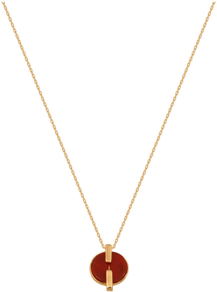 Złoty naszyjnik 585 Naszyjnik z kamieniem w kolorze masy koralowej